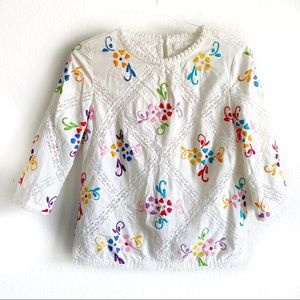 Intropia Printemps floral embroidered white blouse